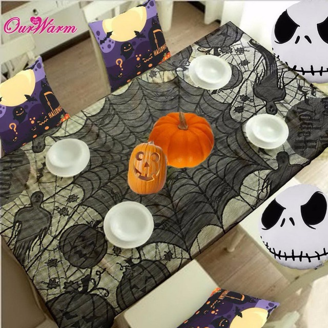 1pc Halloween Spider Web Tablecloth Lace Black Table Cover For Party  Halloween Decoration