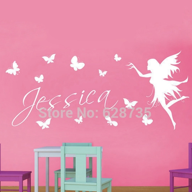 Personalized Name Fairy With Butterflies Vinyl Wall Decal Stickers , Baby  Girl Name Stickers Fairy Free Part 96