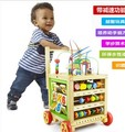 Multi-function children baby walkers Trolley side turn infants big round bead kit car