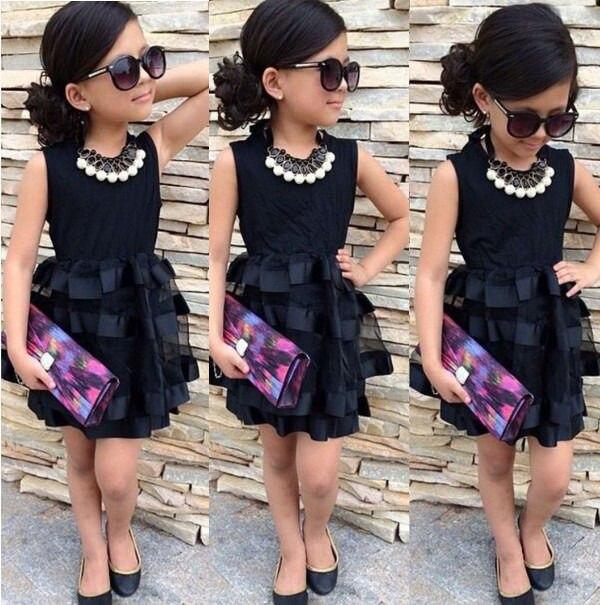 8f312a66f892 POPULOUS bebé niños Niñas princesa corta moda negro verano fresco sólido  partytulle Vestidos 2 3 4 5 6 7 años en Vestidos de Madre y niños en  AliExpress.com ...