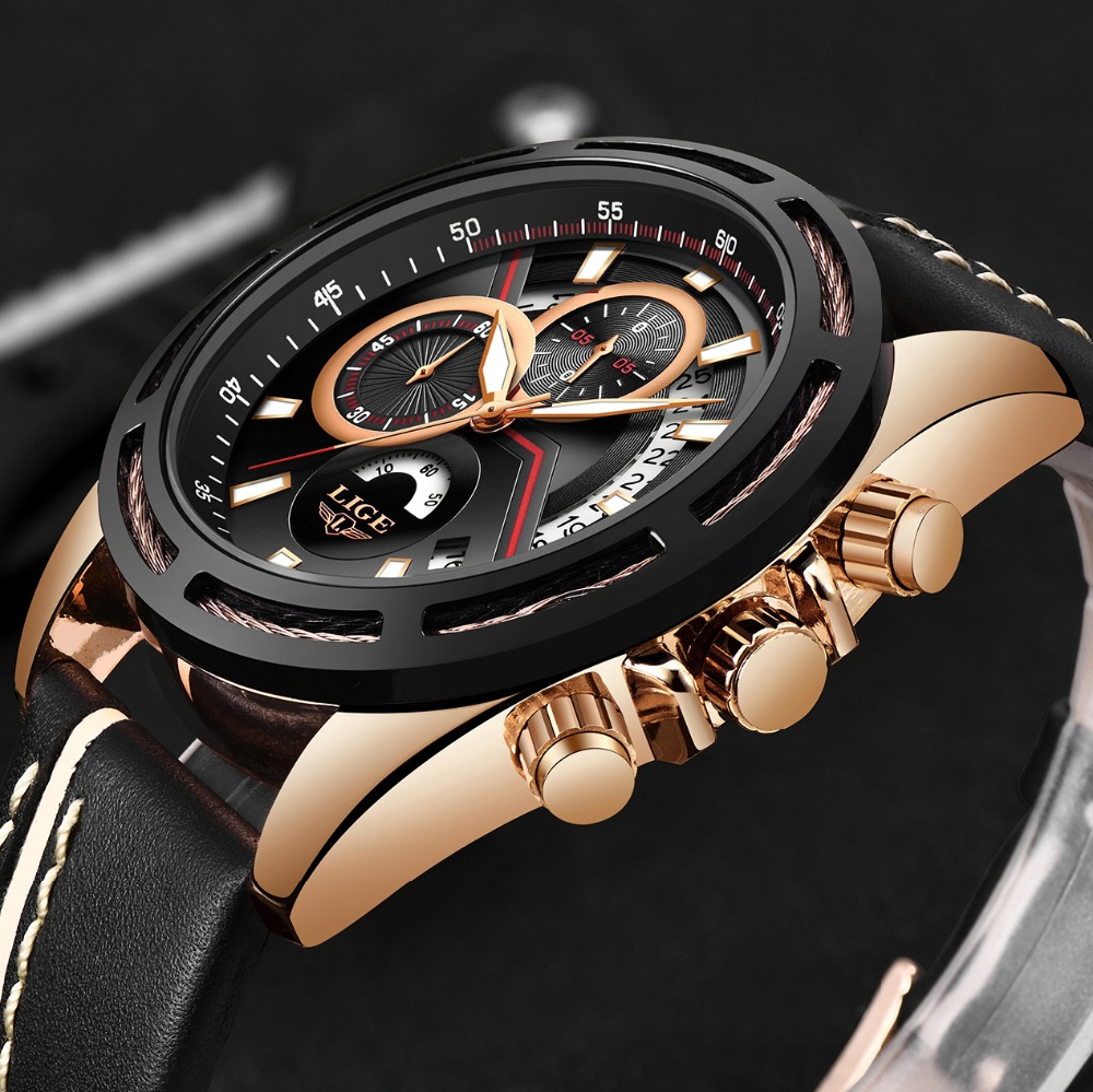 LIGE Mens Watches Top Brand Luxury Date Male Military Sports Watch Casual Leather Waterproof Quartz WristWatch Relogio Masculino oulm mens designer watches luxury watch male quartz watch 3 small dials leather strap wristwatch relogio masculino