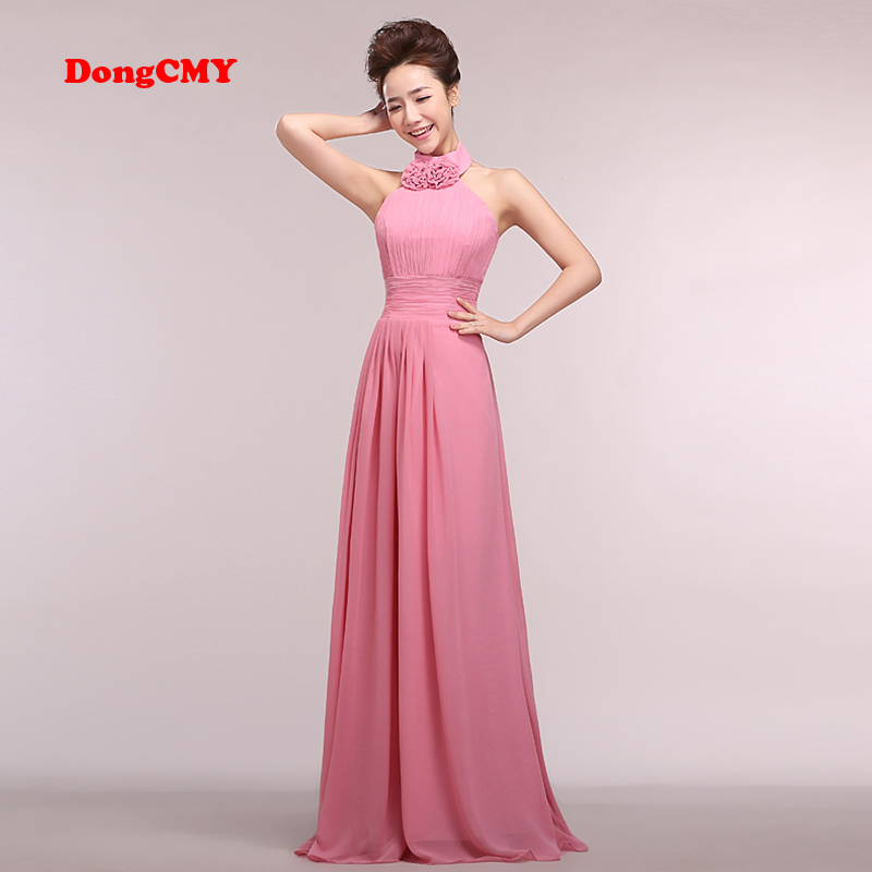 Bridesmaid Dresses Vestido DongCMY New Fashion Chiffon Plus Size Off The Shoulder Halter Junior Dress