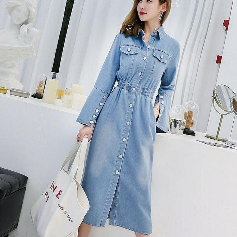 Slim simple boutonnage doux Midi Denim robe élégante à manches longues taille haute fendue Jeans robe bureau coton Vestido Streetwear