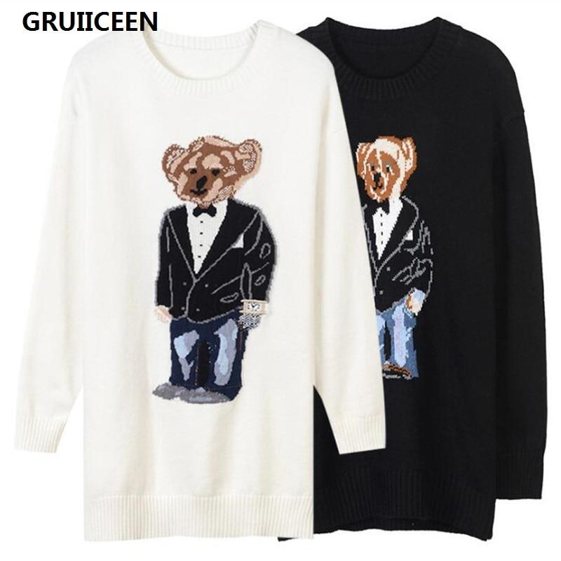 GRUIICEEN 2018 Fashion Long Sweater Women Brand Designer Knitting Bear Pullovers Slim Sweater Spring Fall Winter