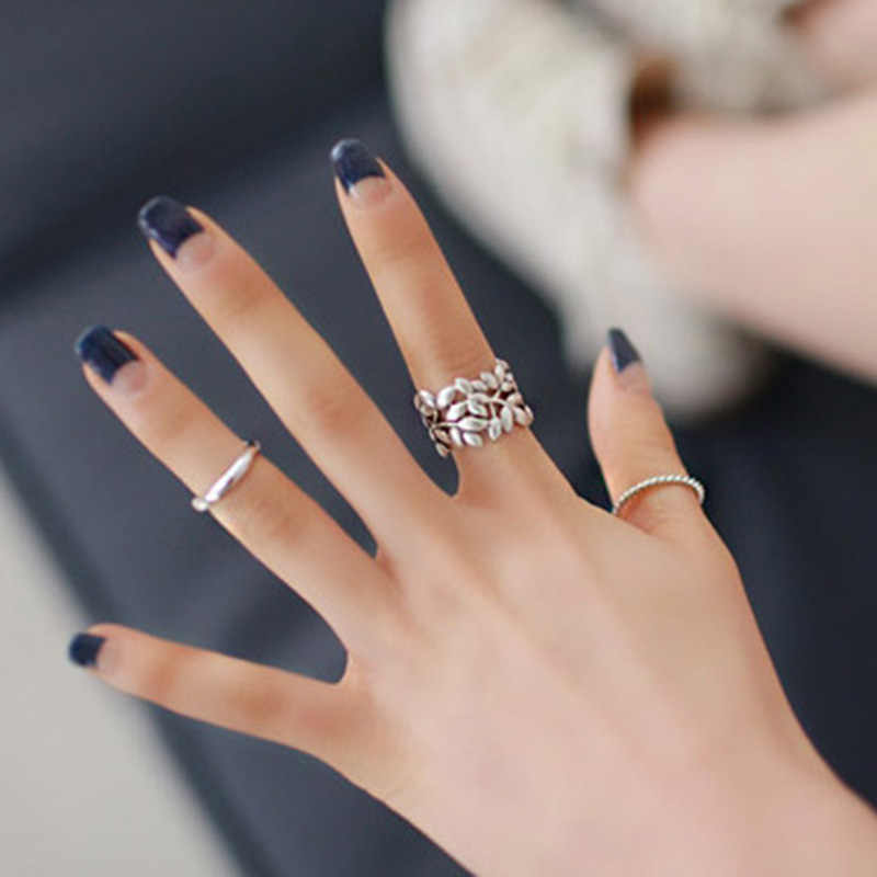3 pieces/set Silver Leaf Rings Set Hollow Leaves Midi Knuckle Open Ring Adjustable Women Mid Finger Jewelry Accessories