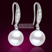 Women Gift word 925 Sterling silver real Freshwater Pearl Earrings Ear Hook round S925 Silver Genuine send mom