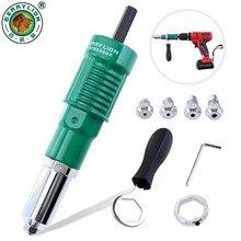 Electric Rivet Nut Gun 2.4mm/3.2mm/4.0mm/4.8mm Solid Aluminum Riveter Adapter Kit Wireless Drill Pop Riveting Drilling Tool
