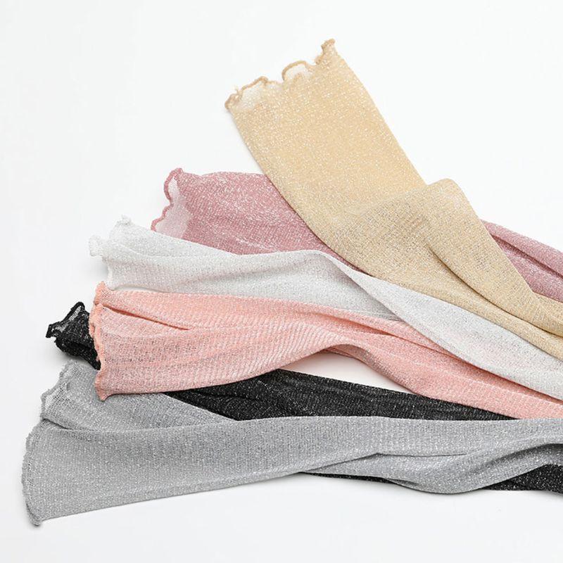 1 Pair 2pcsWomen Girls Ultra-Thin Sheer Glitter Mesh Long Lace Gloves Metallic Shimmer UV Protection Arm Sleeves Ruffles Trim
