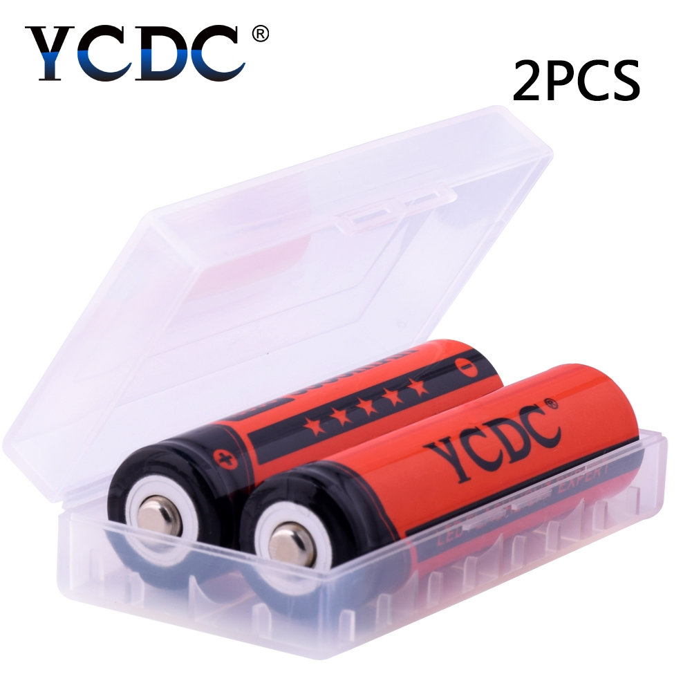 все цены на YCDC 2pcs 18650 li-ion rechargeable battery 3000mAh 3.7V 18650 batteries for flashlight with battery holder bateria Free ship онлайн