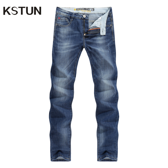 KSTUN Jeans Uomo Business Casual Sottile Estate Etero Slim Fit Blue Jeans Stretch Denim Pantaloni Classici Cowboys Giovane Uomo