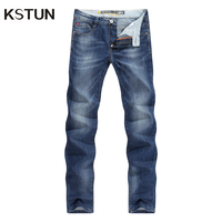 KSTUN Men's Summer Jeans Light Blue High Elasticity Soft Fashion Pockets Designer Straight Slim Business Casual Male Denim Pants 17