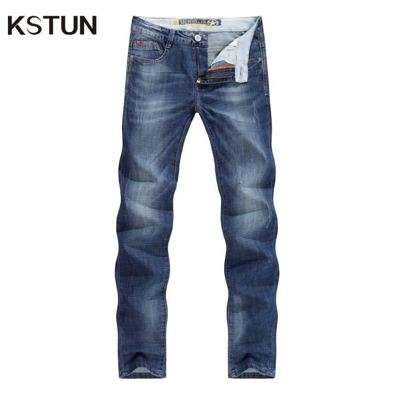 KSTUN Men Jeans Business Casual Thin Summer Straight Slim Fit Blue Jeans Stretch Denim Pants Trousers Classic Cowboys Young Man
