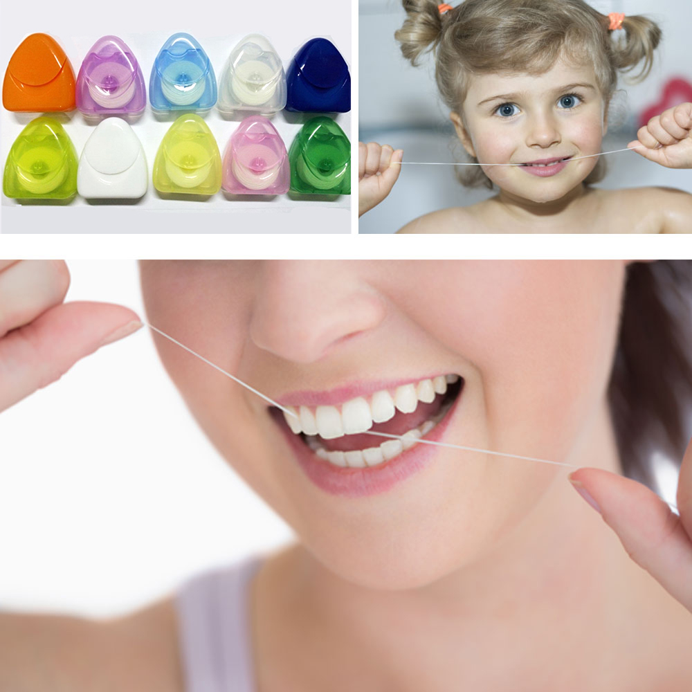 50m Portable Dental Flosser Oral Hygiene Teeth Cleaning Wax Dental Floss Spool Toothpick Tooth Clean Oral Care Color Randomly