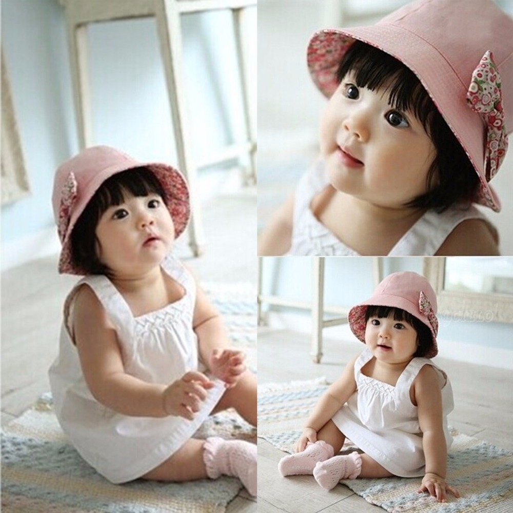 296b46de Puseky 2017 Summer Flower Print Cotton Baby Hat Kids Girls Floral Bowknot  Cap Sun Bucket Hats Double Sided Can Wear gorro-in Hats & Caps from Mother  & Kids ...