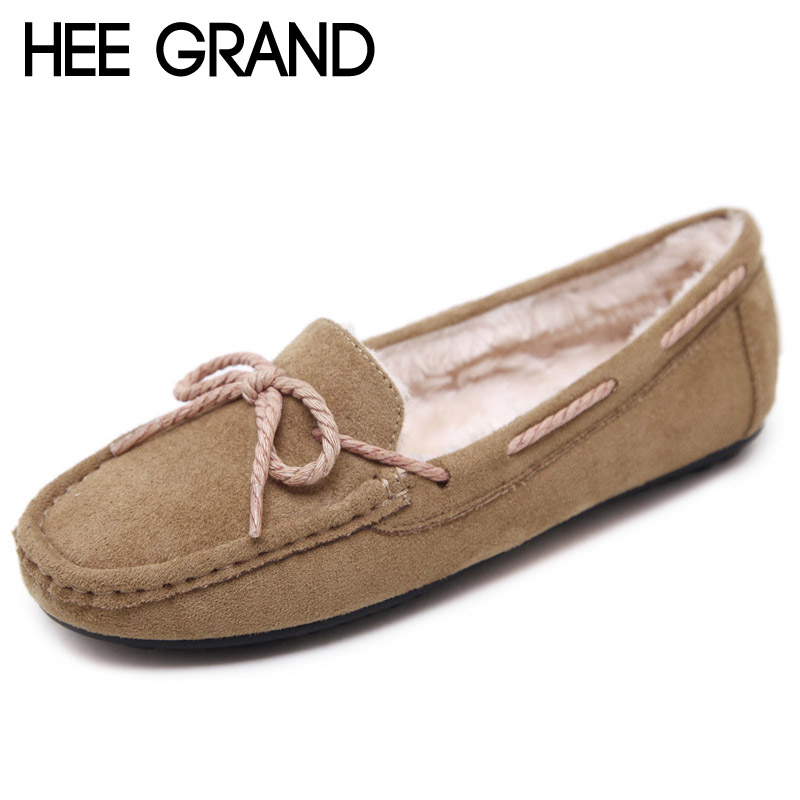 HEE GRAND Winter Flock Loafers Casual Slip On Warm Women Shoes Soft Flats Suede Platform Shoes Woman Size 35-41 XWD6155 jingkubu 2017 autumn winter women ballet flats simple sewing warm fur comfort cotton shoes woman loafers slip on size 35 40 w329