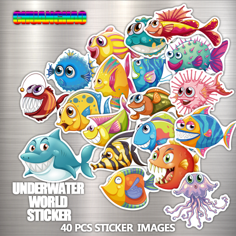 40 PCS underwater world cartoon stickers laptop bag cell phone motorcycle cool car stickers graffiti toy