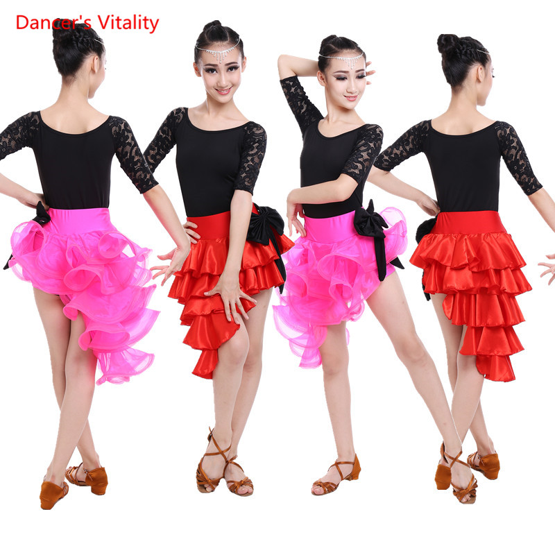 Gilrs Latin dance clothes Half sleeve lace top+Irregular skirt 2pcs set for Child/kids latin dance competition suits