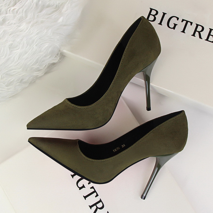 2017 New Spring Pumps OL  Elegant High Heels Shoes Fashion Suede High-heeled Pointed Sexy Thin Heeled Women Single Shoes G1026 2016 spring new fashion women hot sale nightclub sexy fine with platform high heeled shoes ol shoes baok 8e36