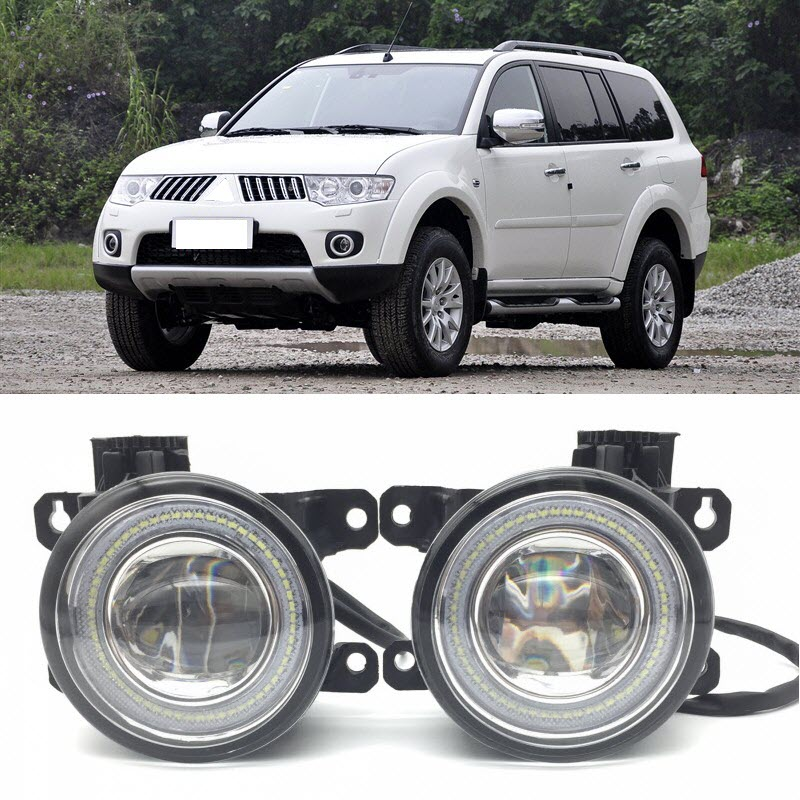 Pour Mitsubishi Pajero Montero Sport 2008-2017 2 en 1 LED Ange yeux DRL 3 Couleurs Feux de jour Coupe-Ligne Lentille Brouillard Lumières