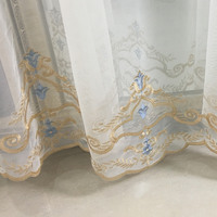Free Shipping Euro Damak Style Embroidery Mesh Fabric Decorative Window Gold Blue Curtain Drapery 280 Cm