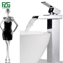 Contemporary Brass Tall Square Waterfall Countertop Bathroom Sink Faucet Chrome Finish Mixer Tap contemporary chrome finish thermochromic led waterfall bathroom tub faucet