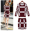 New Women Winter Knitted Set Skirt and Knit Blouses Women Set Autumn 2017 Plaid Fashion Women New 2 piece Set Skirt and Top 1233
