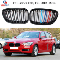 For BMW F20 1 Series Front Bumper Kidney Grille Mesh Gloss M Tri colored Replacement Grill 116i 118i 120i 128i