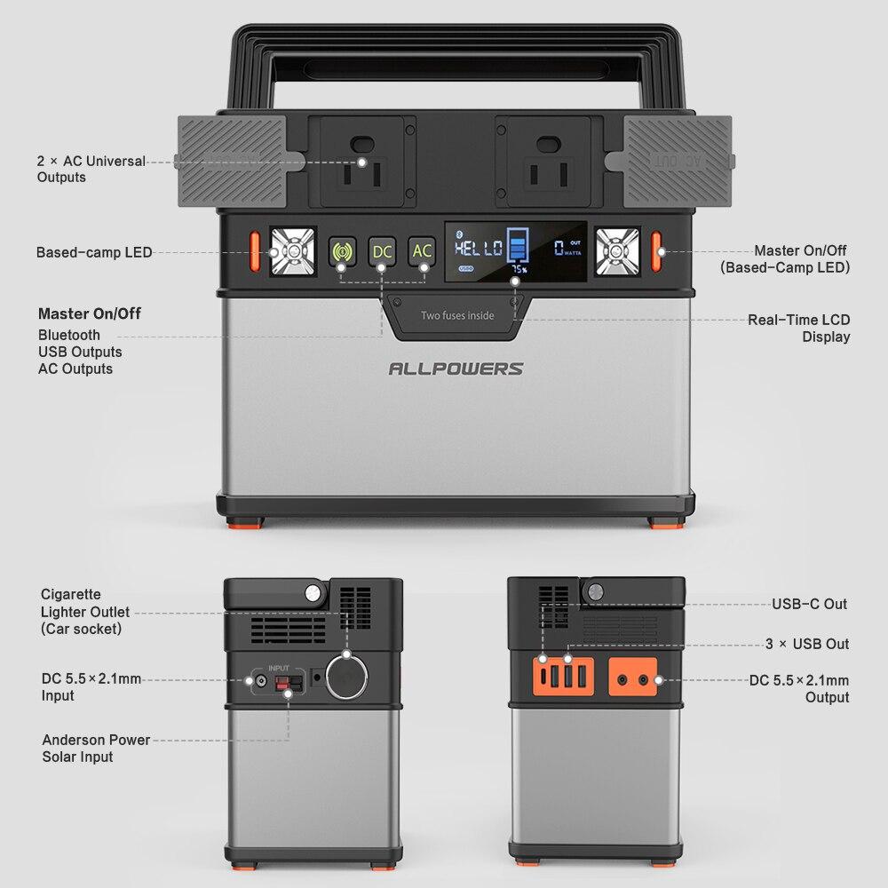 ALLPOWERS 110V ~ 230V Power Bank Pure Sine Wave generador portátil de energía Estación de alimentación coche refrigerador TV Drone teléfonos portátiles. - 4