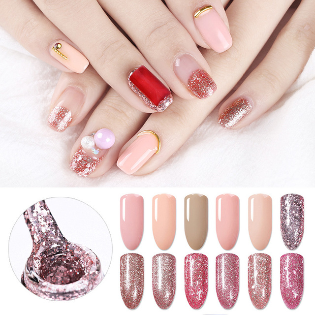 BORN PRETTY Nude Glitter UV Gel Polish Rose Gold Pink Shining Soak ...
