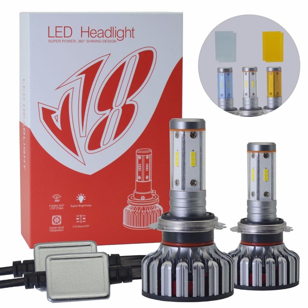 2 ampoules 100W Blanc CSP1919 Chip H7 <font><b>LED</b></font> Car <font><b>Voiture</b></font> Bulbs Phare Fog Headlamps H4 H11 H8 9005 9006 <font><b>Led</b></font> Headlight Bulb Ampoules