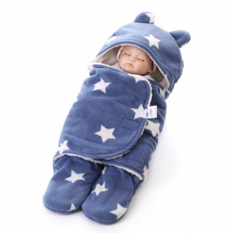 new product ff964 7812b Baby Sleep Sack Winter Warm Baby Sleeping Bag for Stroller Newborn Swaddle  Blanket With White Fleece Baby Bedding Accessories