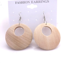 Free Shipping 40mm Original Color Round Shape Drop Earrings For Painting 12 Pairs/lot