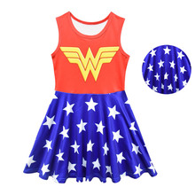 Girls Super Hero Theme Dress Summer Kids Stars Print Blue Frock Baby Girl Vest One Piece Sleeveless Outfit Wonder Party Costumes цена