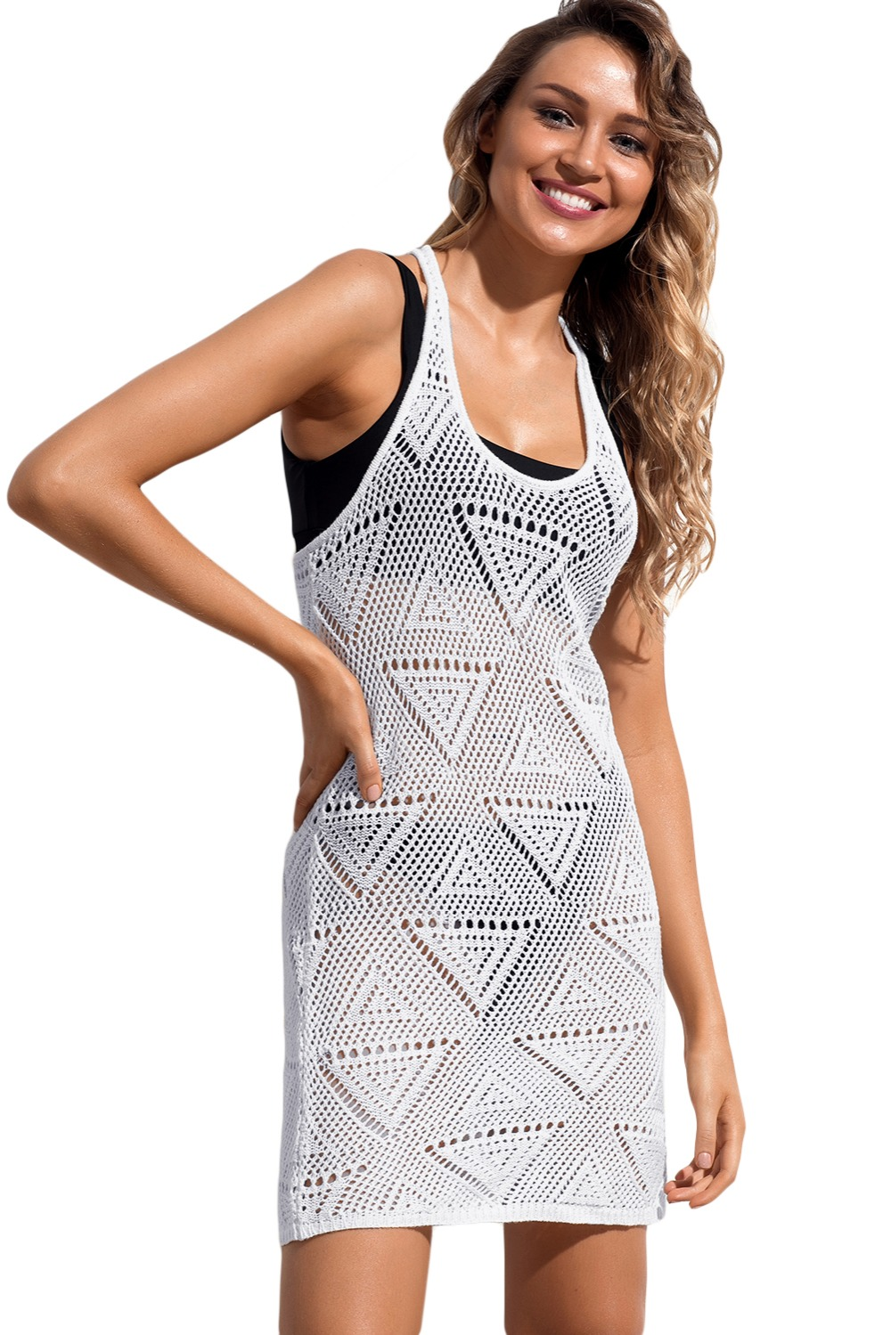 Hollow White Geometric Crochet Beach Swim Cover up Wrap Bathing Suit Beachwear Cover Up Black Cutout cover ups tank dress