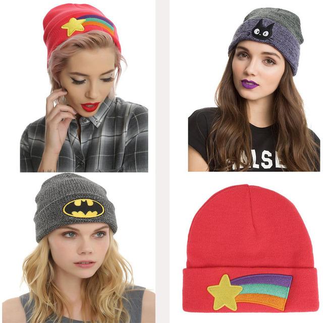 2016 nova Outono inverno chapéu 3 pcs Batman Rainbow Star projeto do gato gorros de tricô chapéu de lã quente ao ar livre vermelho cinza para as mulheres laidies