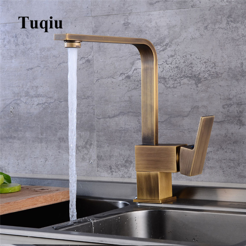 Rotating brass kitchen faucets hot & cold water torneiras cozinha chrome/antique/black Oil Brushed Square Sink taps mixersRotating brass kitchen faucets hot & cold water torneiras cozinha chrome/antique/black Oil Brushed Square Sink taps mixers