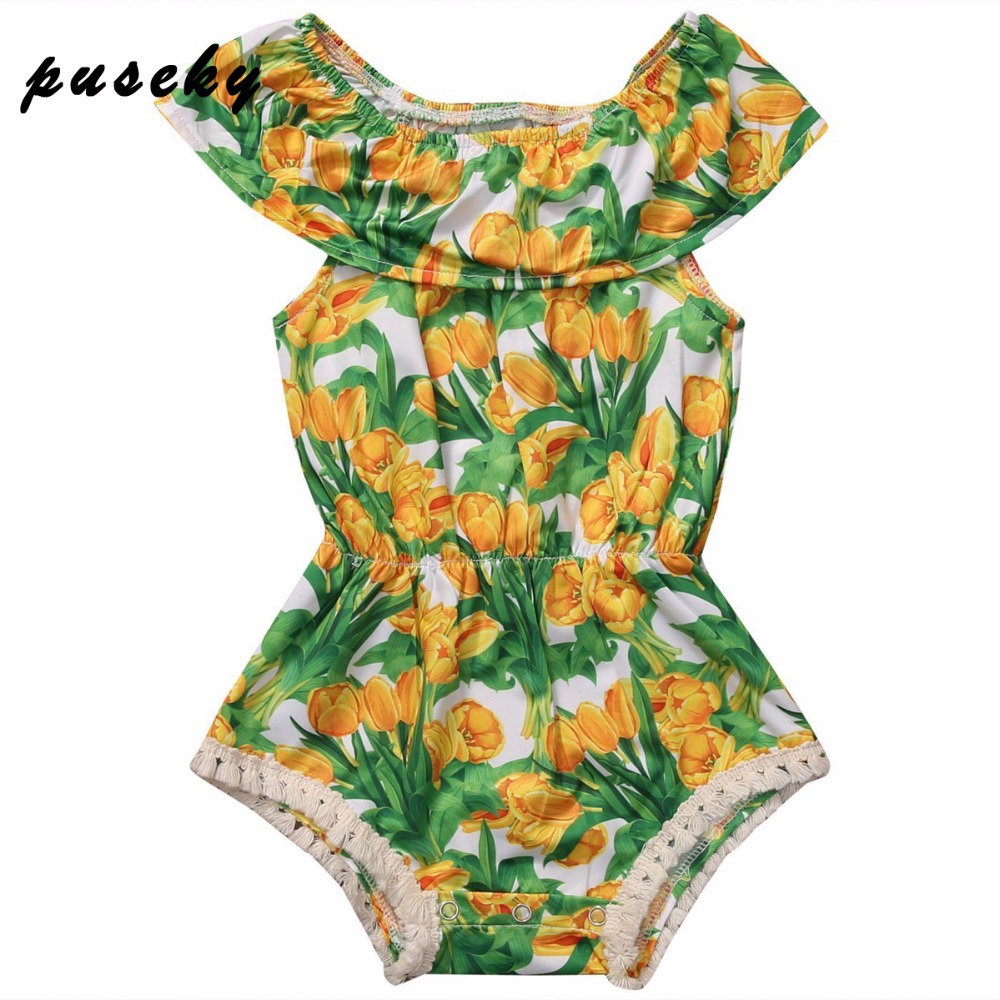 Puseky Baby Summer Clothes 2017 Newborn Baby Girls Clothes Jumpsuit Off Shoulder Sleeve Infant Product Floral Romper 0-24M baby clothing summer infant newborn baby romper short sleeve girl boys jumpsuit new born baby clothes