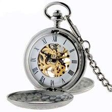 Silver New arrivals Romam Steampunk Esqueleto Reloj de Bolsillo Mecánico Con La Cadena P408