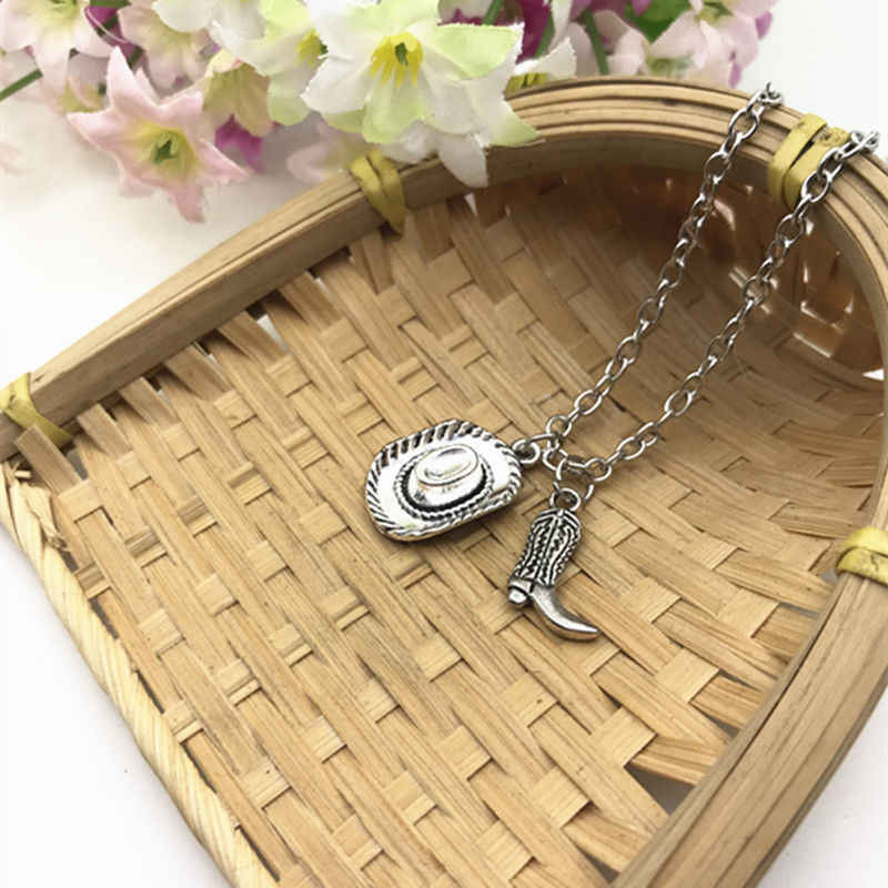 Cowboy Hat Cowboy Boot Charm Pendant Necklace Zinc Alloy Ancient Silver Fashion Women&Men Dirt Jewelry Valentine's Day Present