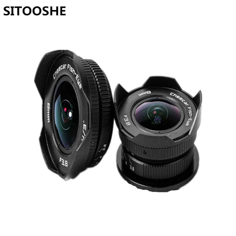8mm F3.8 C mount Wide Angle Prime Fish-eye Lens for Canon SONY E Mount Micro M4/3 Fujifilm FX Pentax Samsung Lumix Cameras aps c cl mil7528n 7 5mm f2 8 fish eye wide angle lens suit for fujifilm fx nex micro 4 3 eos m with lens wrist strap