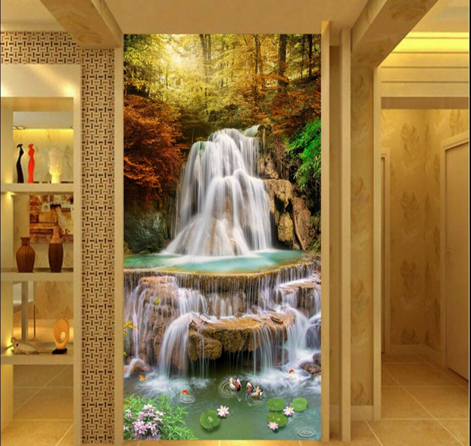 Waterfall Fish Hallway Mural Photo Wallpaper for Living Room Wall Decor Entrance 3d Wallpaper Wall papers Home Decor 3d Sticker custom photo wallpaper european town street view entrance background modern painting mural wall papers home decor living room