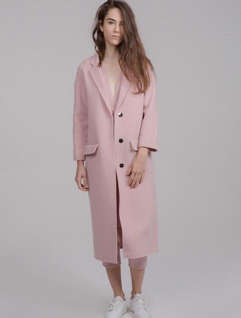 55e7f5fd109 UK 2019 Fall /Winter Women Notched lapel Simple Long Coat style Female  Woolen cashmere Overcoat