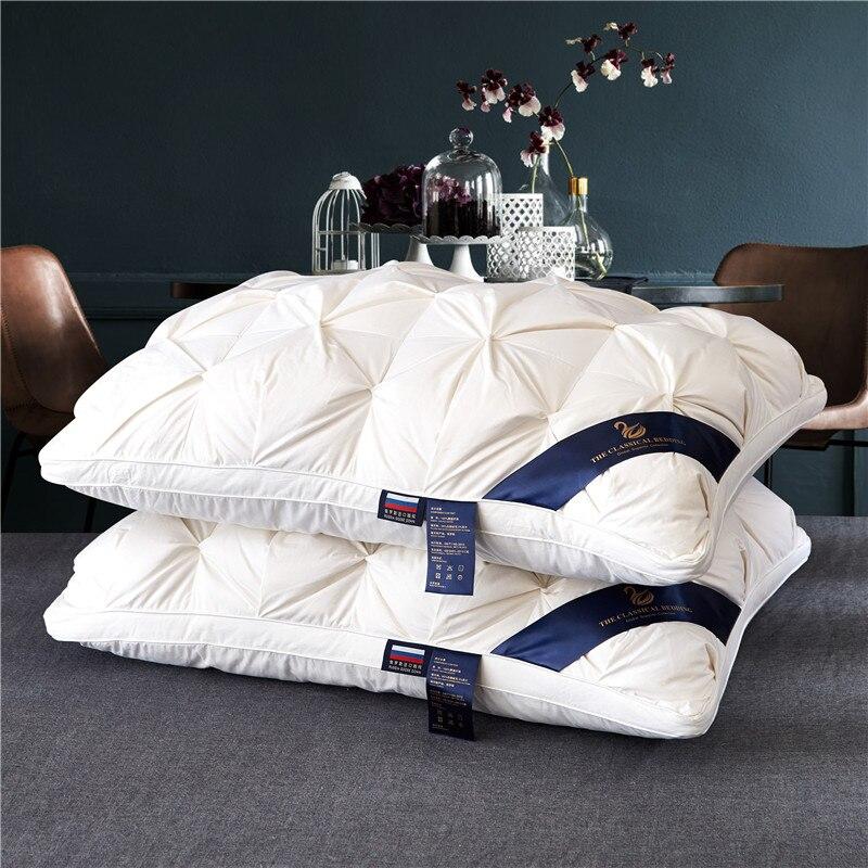 48*74 см белый хлеб Стиль Прямоугольная гусиная/утка пуховая подушка Комплект постельного белья Цельный хлопок гусиная шерсть подушка удобна...