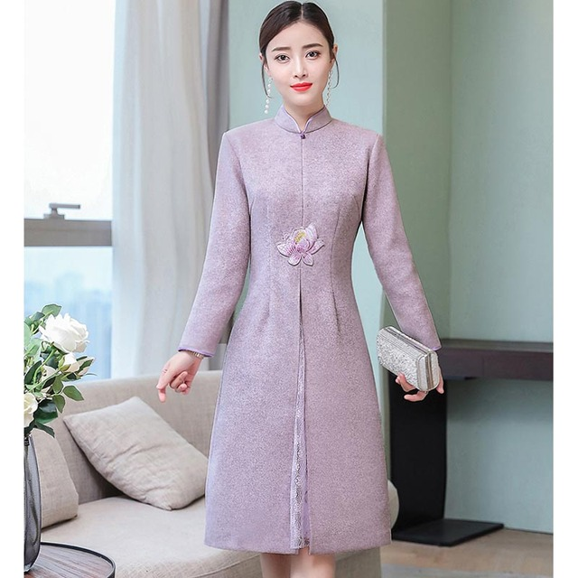 Purple dress women plus size party elegnat vintage robe midi Chinese  dresses emboridery floral winter long sleeve zip clothing