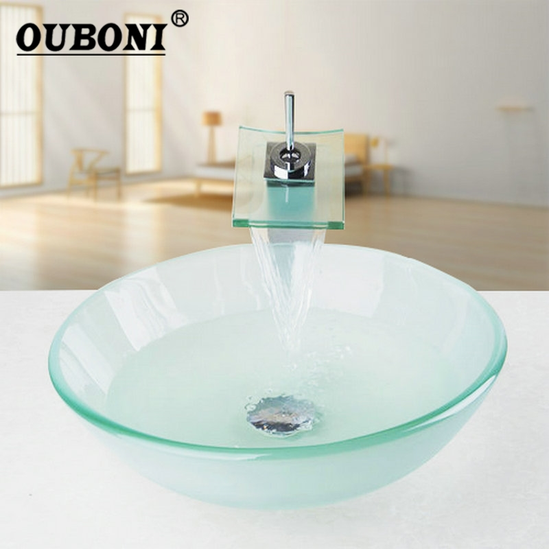 Ouboni New Frosted Victory Glass Bowl Sink Wash Square Chrome