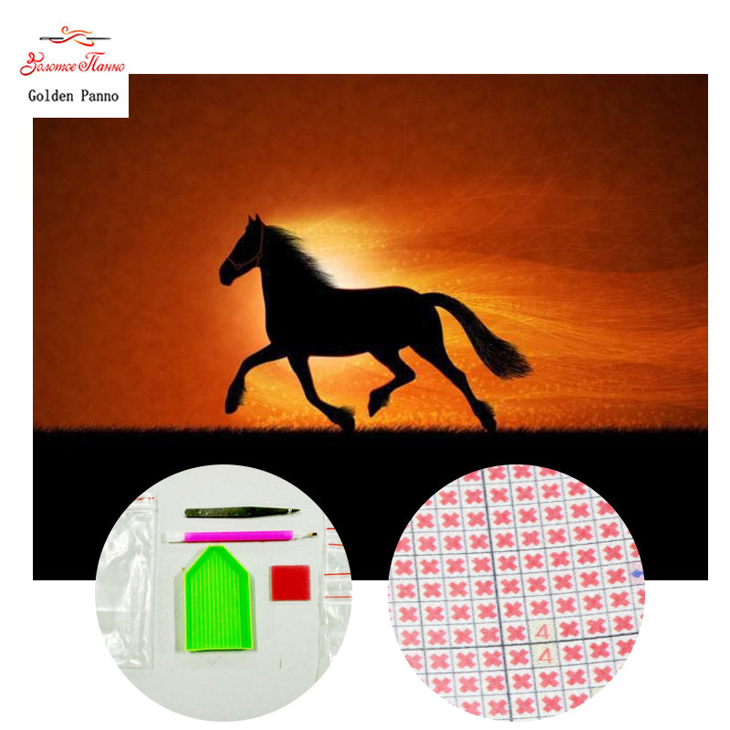 Golden panno,5D,diy diamond embroidery,Full,square,Diamond Painting,Cross Stitch,3D,diamond,Mosaic,Needlwork,Sunset horse 720