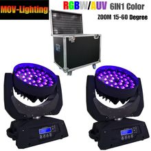 Kasus Penerbangan Paket 2 Pcs/lot Murah Cuci 36 Pcs 18 W LED Beam Cuci Zoom Moving Head dengan Penerbangan kasus(China)