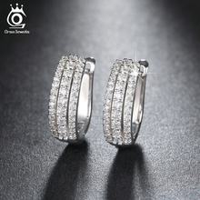 ORSA JEWELS Vintage Women Round Earrings with 3 Rows Shiny Austrian Cubic Zirconia Luxury Circle Hoop Earring Jewelry OE147