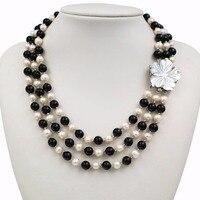 LiiJi Einzigartige Neue Mode Natürlichen Süßwasser-perle 3 Reihen 7-8mm Weiße Perle Schwarz Onyx Halskette Shell Blume verschluss 18 ''/45 cm