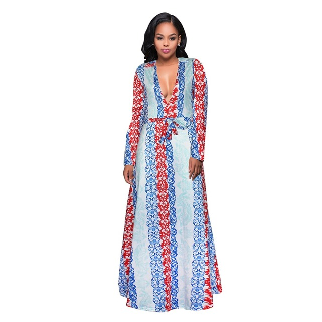 98c001d410d 2017 women Large size Maxi dress Casual White Half Sleeve vintage flowers print  party long dress V Neck Sexy D1016